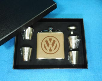 Volkswagen Deluxe Leather Flask Gift Set - Great Christmas gift for a VW Driver or Enthusiest! VW Beetle, VW Microbus, Jetta