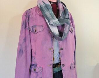 Pink Sz 18 XL Denim JACKET - Fuchsia Dyed Upcycled Northcrest Denim Safari Trench Barn Jacket - Adult Women Size Extra Large (48 chest)