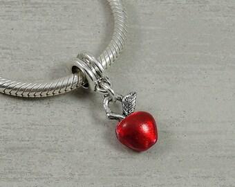Red Apple European Dangle Bead Charm - Silver and Red Apple Charm for European Bracelet