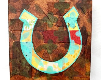 Horseshoe mixed media original painting