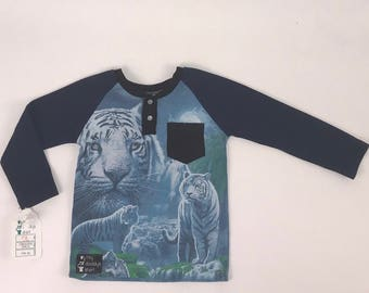 Size 5t - UpCycled Long Sleeve Henley Tee with Pocket - White Tiger