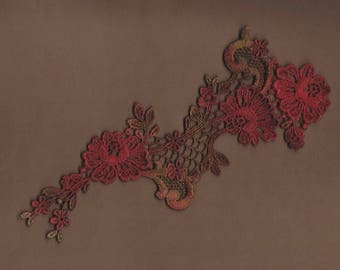 Hand Dyed Floral Venise Lace Applique  Edwardian Christmas