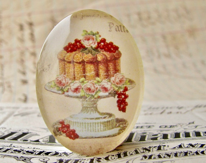 From our Bountiful Bakery collection, cake with fruit and flowers, handmade glass oval cabochon, 40x30mm, vintage kitchen, baking, cooking
