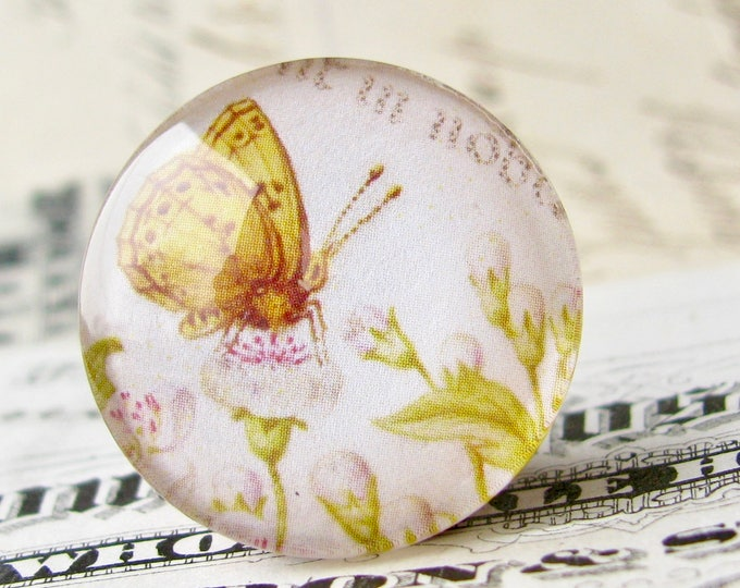 Renaissance art drawing, yellow moth, handmade 25mm round glass cabochon, bottle cap, 1 inch, from our Vintage Botanicals collection
