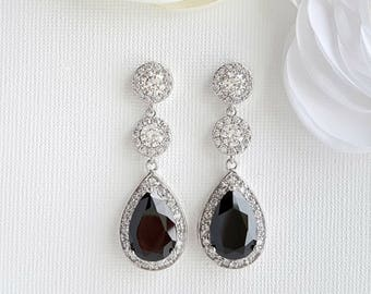 Black Earrings Long Bridal Earrings Cubic Zirconia Drop Black Crystal Earrings Halo Bridal Black Earrings Black Bridal Jewelry, Zoe