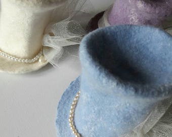 Fascinator Tiny Top Hat - Felted - Bridal - Wedding