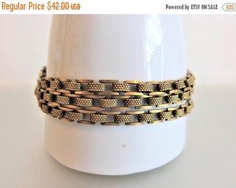 ON SALE Lovely Vintage Brass Three Strand Link Bracelet by Goldette