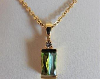 ON SALE Vintage Blue Green Pendant Necklace Avon