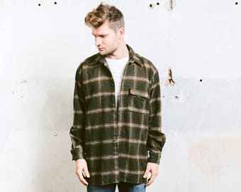 Men's Plaid Flannel Jacket . Thick Wool Shirt Vintage 90s Grunge Overshirt Green CAMEL Lumberjack Shirt Outerwear . size Large