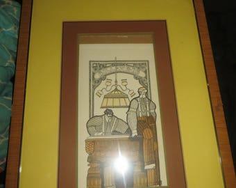 Vintage   retro folk art    framed art     BILLIARDS ART  signed Cann