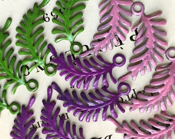 Enamel Metal Leaves, Leaf Connectors, Vintaj Brass Ferns, Patina leaves, Fast-enables Leaf Art Nouveau Loop Cottage chic, Purple, Pink