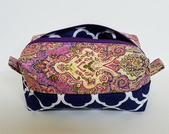 Purple and Blue Cosmetic Bag//Purple and Blue Toiletry Bag