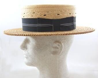 1930s Mens Straw Boater Hat - Boater Hat - 30s Skimmer Navy Band // Size 6 7/8 - Edwards Store for Men Chicago