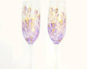 Hand Painted Crystal Champagne Glasses - Lavender and Gold Roses Set of 2 - Personalized Champagne Flutes 50th Anniversary Gift