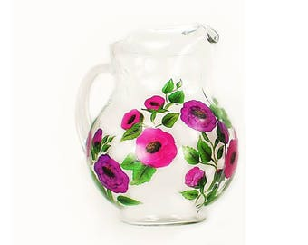 Hand Painted Beverage Water Pitcher - Bright Pink Purple Poppy Flowers - HandPainted Juice Pitcher Martini Pitcher Housewarming Gift Idea