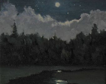 """Small oil painting, Moon and Creek, nocturne, 5"""" x 5"""""""