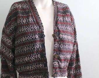 SUMMER SALE vintage.  Black Tribal Ethnic IKAT Cotton Jacket // Bolero Cut Jacket // Gypsy Boho Free Size