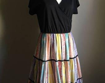 SUMMER SALE 70s Black Colorful Dress • Cotton Blend Dress • Rare Retro Dress • 1970