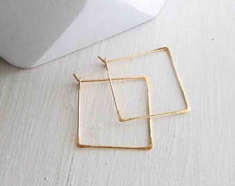 Small Square Gold Hoops, Tiny Wire Threader Earrings, Delicate Gold Hoops, Hammered Hoops, Minimalist Earrings, Geometric Hoop, Gift for Her