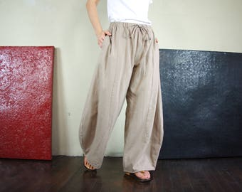 Take Me Home...Boho Funky Chic Light Brown Beige Cotton Mix Linen Wide Leg Pants With 2 Pockets