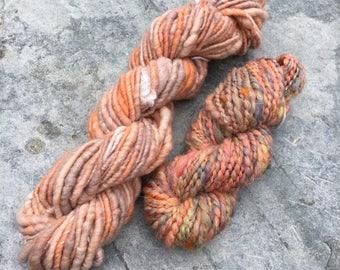 Handspun Yarn Pack / Weaving Pack / Knitting Pack - Peaches - 118 grams - 59 yards