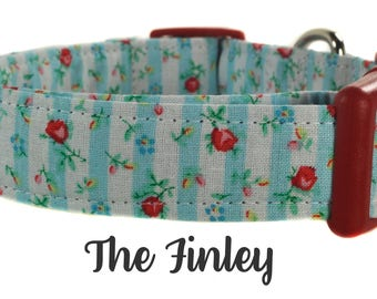 Red and Blue Floral Dog Collar - The Finley
