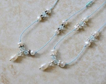 pearl on silk thread necklace white,blue, delicate necklace, pearl necklace, string necklace