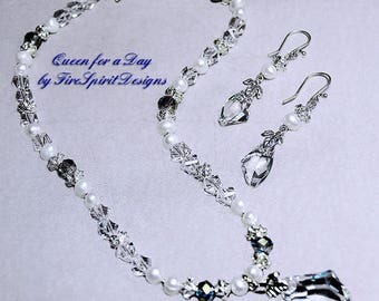 Queen for a Day- wedding jewelry set- bridal jewelry set- prom jewelry set- beaded jewelry set- handmade jewelry set- ooak jewelry set- gift