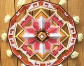 RESERVED Golden Sunset with tassels, a 12 sided 28 inch Ojo de Dios mandala, in stock