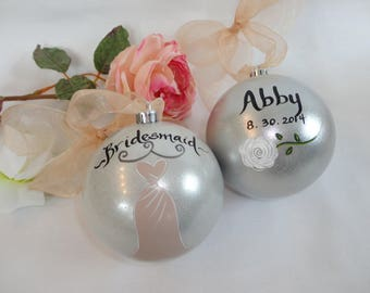 "Hand Painted Bridesmaid Ornaments - Bridesmaid Gifs - ""PICK YOUR DRESS Color!""  -  Wedding Ornament - Bridal Party Gifts, Bridesmaid Gifts"