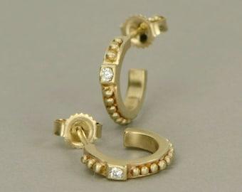 Gold hoop earrings 10K diamond hoop earrings huggie earrings diamond post earrings Etruscan granulation style everyday diamond hoop earrings