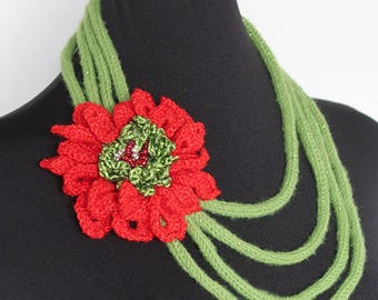 FREE US SHIPPING - Red Poinsettia Statement Crochet Chords Chains Rope Necklace  with Red Flower Brooch