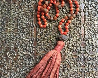 Justice ~ Mala ~ Coral ~ Red Jasper ~ Rudraksha ~ Agate ~ Guru ~ African Clay ~ Tassel: Silk Sari
