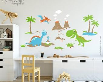 Dinosaurs Wall Decal, Dinosaurs Wall Sticker for Kids Children Room, Dinosaurs Nursery Decor Wall Sticker, Dinosaurs Playroom Wall Decal