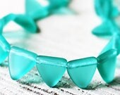 12mm & 9mm Triangle Drop Beads For Jewelry Making - Jewelry Supplies - Czech Glass Beads - Frosted Glass Beads  Seafoam Matte