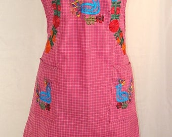 Large Pink Floral Embroidered Folk Peasant Traditional Mexican Multi-use Apron. Can be worn around the house or elsewhere