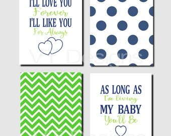 Boy Nursery Wall Art, Navy Green Nursery Art, Quote Art Decor, I 'll Love You Forever, Baby Boy Room, Set of 4, Canvas or Prints