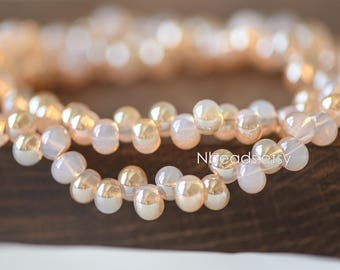Crystal Glass Smooth Seed Beads 6mm, Sparkly Opal Champagne (GM018-9)/ 95 beads full strand
