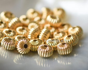 24K Gold plated Brass Rondelle Beads, Melon Spacer Beads 4/ 6/ 8mm, lead nickel free (GB-099)