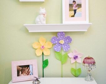 fabric flower garden, nursery decor, 3d wall art decor, baby shower gift. reserved for lori