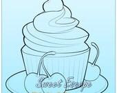 Cupcake and cherries Digital Stamp
