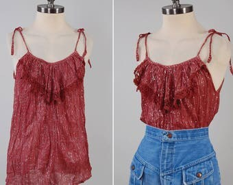 Vintage 70s indian gauze and LUREX thread tie shoulder blouse / Made in India / Vintage cotton gauze INDIA top / Bohemian hippie blouse