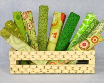 Light and Bright Green Fat Quarter Bundle, 12 Fat Quarters, 100% Cotton Quilt Fabric Bundle, Cotton Fabric Blenders, Various Manufacturers