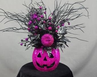 Pink Jack O Lantern, Jack O Lantern Centerpiece, Pink and Black Centerpiece, Pumpkin Arrangement, Halloween Decoration, Spooky Pumpkin