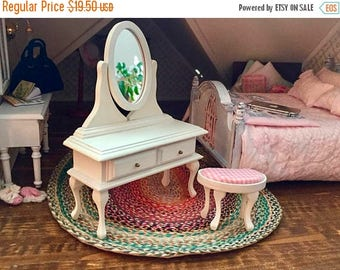 SALE Miniature Vanity With Stool, Mirrored Vanity With Drawers, White Vanity, Dollhouse Miniature Furniture, 1:12 Scale, Wood Vanity