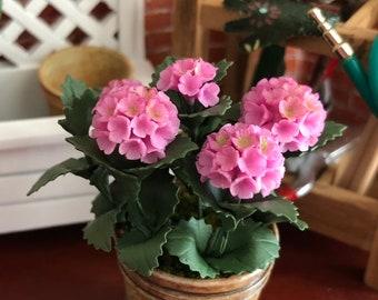 Miniature Pink Hydrangea in French Flower Pot #48, Dollhouse Miniature, 1:12 Scale, Dollhouse Flowers, Home & Garden, Mini Flowers
