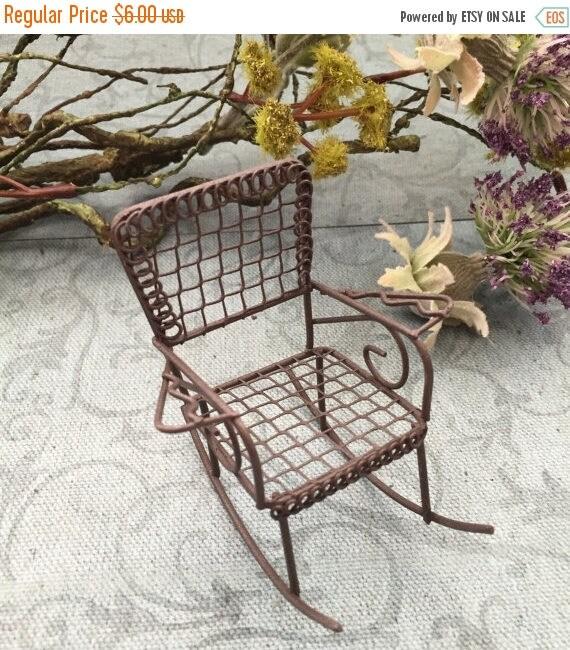 SALE Miniature Rusty Metal Wire Rocking Chair,  2.5 Inches, Fairy Garden Accessory, Primitives, Garden Decor, Miniature Gardening