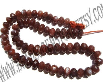 AAA Supper Quality Natural Chocolate Moonstone Beads in Rondelle Faceted Shape, (7.50 to 8.50), MOONSTO-010, Semiprecious Gemstone Beads