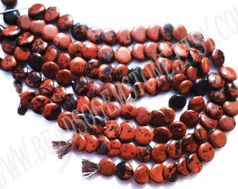 14 Inch Natural Obsidian Mahagony Beads In Puffed Disc Smooth Shape (Quality AAA), 15.5 to 16.5, OB-010, Semiprecious Gemstone Beads