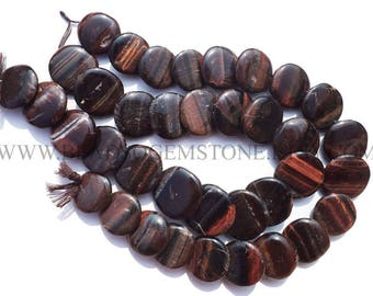 Gemstone Beads, Red Tiger Eye Smooth Disc (Quality A) / 21 to 27 mm / 36 cm / TIG-023